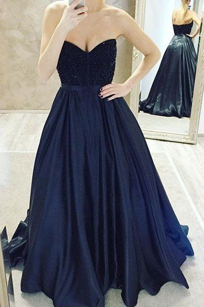 Dark Navy Ball Gown Prom Dresses,Long Prom Dresses,Cheap Prom Dresses,Evening Dress Prom Gowns, Formal Women Dress