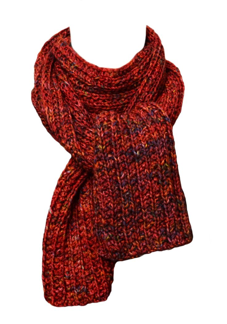 Hand Knit Scarf - Pagewood Farms Red Trail Ridge Rib by StudioatRedTopRanch on Etsy
