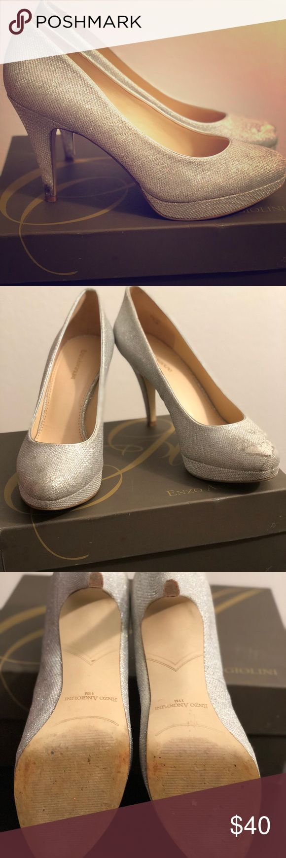 Enzo Angiolini Silver Sparkly Cinderella Heels Beautiful silver sparkly heels; comes with new box  Only worn twice. Has scuff on front of one shoe In great condition Enzo Angiolini Shoes Heels