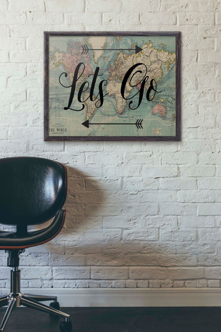 Lets Go Poster, Travel Poster Vintage, World Map Poster, Travel Quote, Motivational Wall, World Map Poster, Inspirational Quote, Wanderlust by PartyInked on Etsy https://www.etsy.com/uk/listing/247014914/lets-go-poster-travel-poster-vintage