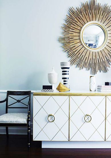 A Chic and Feminine Australian Apartment// mirror, lacquered sideboard: Homes Interiors Design, House Design, Design Homes, Greg Natale, Living Rooms Design, Sunburst Mirror, Eclectic Hall, Homes Decoration, Hollywood Regency