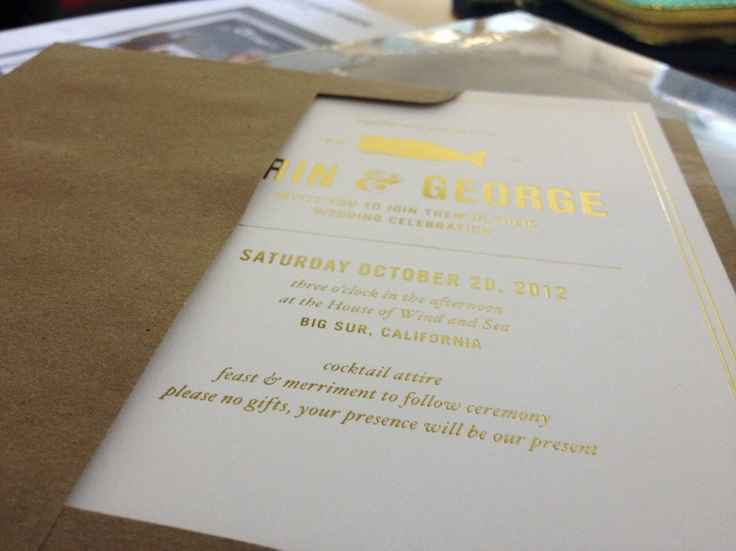 Fresh Off The Gold Foil Press. Here Are Invitations I Designed For My  Friendu0027s Wedding In Big Sur. Foil Stamping ...