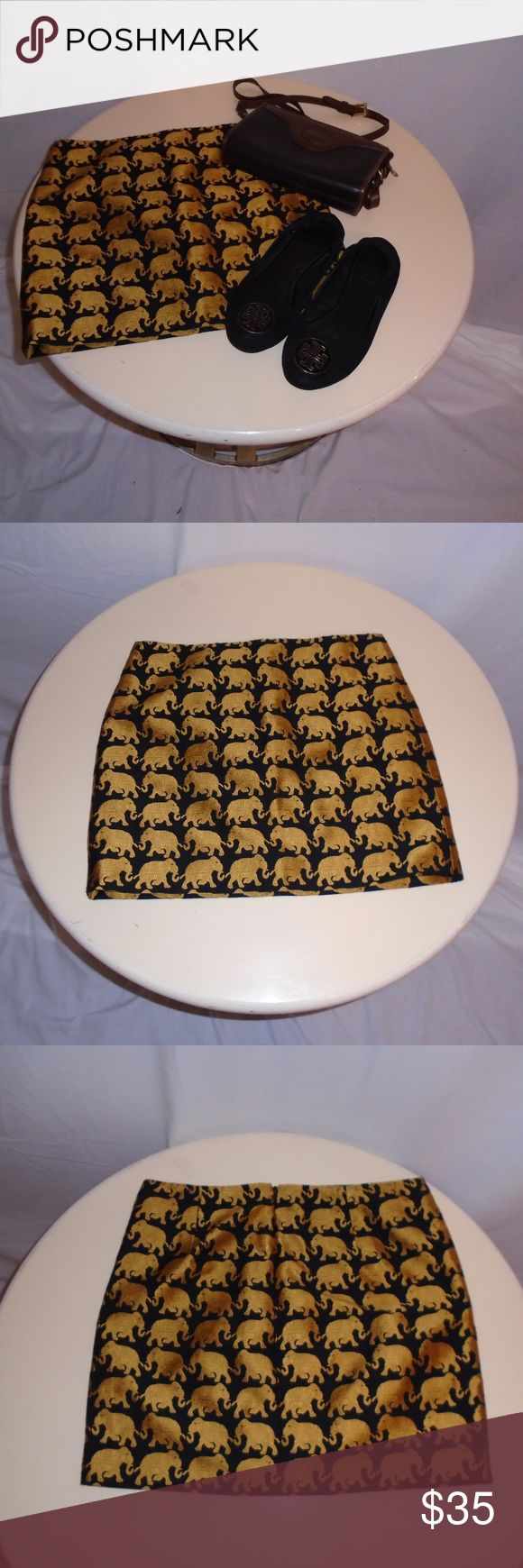 J Crew Origami Skirt Elephant Parade Excellent condition. No signs of damage or wear. Absolutely stunning. Has a zipper J. Crew Skirts