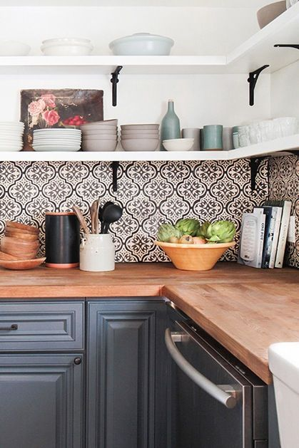 Cement tile backsplash and open shelving. The Ultimate Guide to Backsplashes via @PureWow