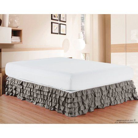 Free Shipping. Buy Elegant Comfort Luxurious Premium Quality 1500 Thread Count Wrinkle and Fade Resistant Egyptian Quality Microfiber Multi-Ruffle Bed Skirt - 15inch Drop, King, Grey at Walmart.com