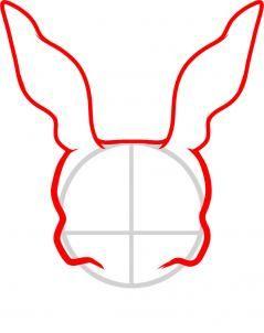 how to draw frank the rabbit, donnie darko step 2