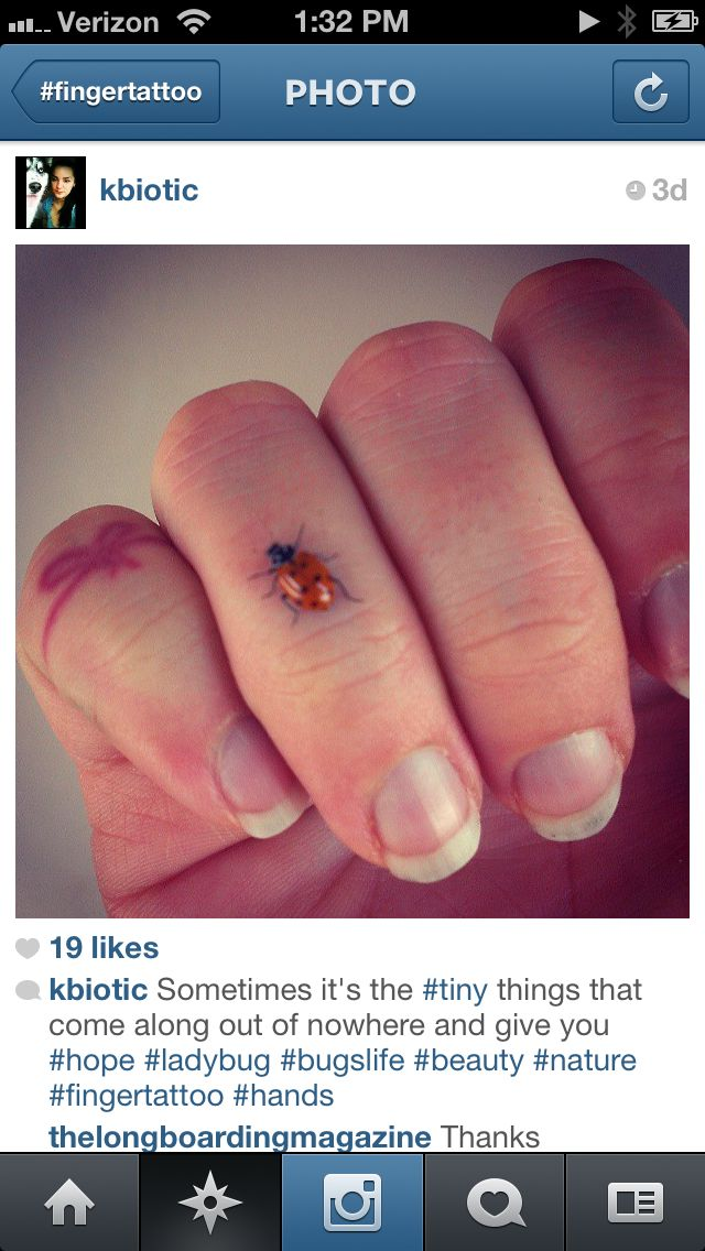 Ladybug tattoo I want it on the webbing between my thumb and finger
