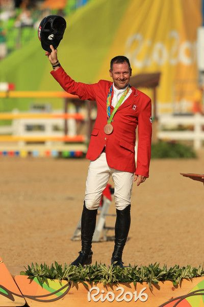Bronze medalist Eric Lamaze of Canada riding Fine Lady 5 celerates after the Equestrian Jumping Individual Final Round on Day 14 of the Rio 2016 Olympic Games at the Olympic Equestrian Centre on August 19, 2016 in Rio de Janeiro, Brazil.