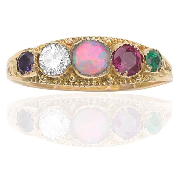 ADORE ring....Amethyst, Diamond, Opal, Ruby & Emerald Ring. Circa 1890