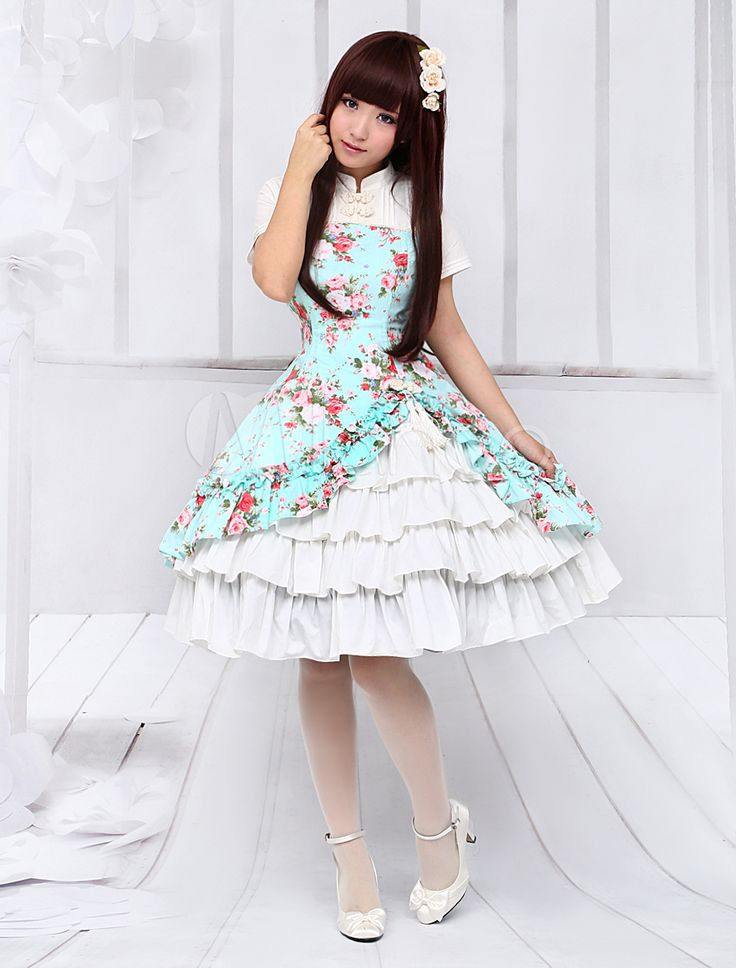 Ethnic Sleeveless Cascading Ruffled Lolita Dress For Women