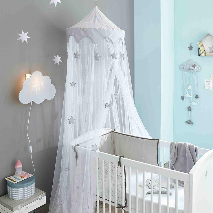 Baby-Gitterbett aus Holz mit Sternmotiv, L 131cm, weiß Pastel Pastel   Maisons du Monde