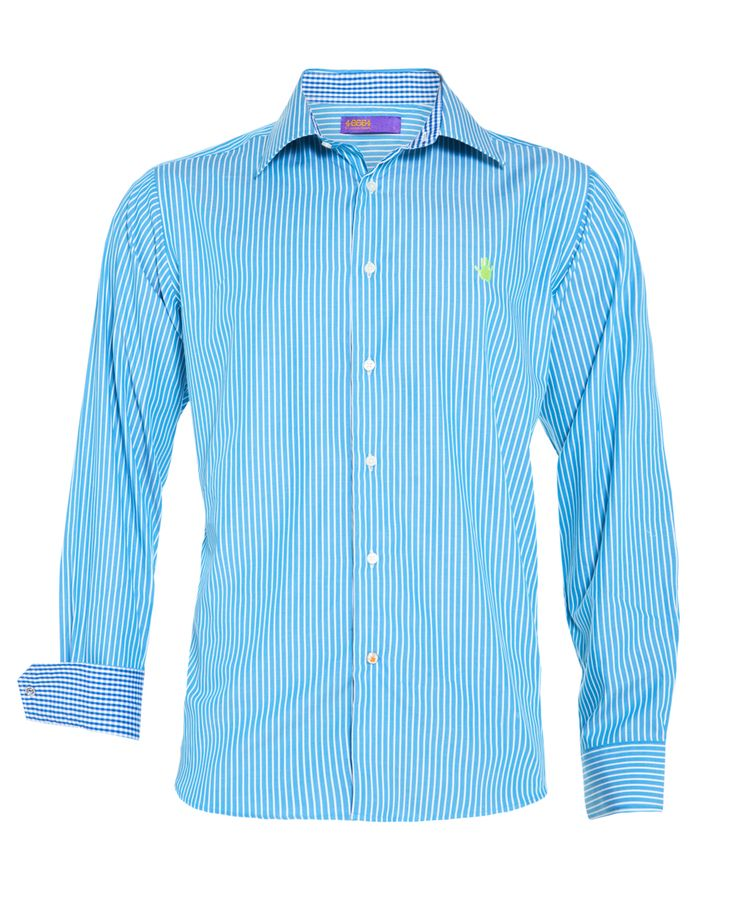 Men's turquoise striped shirt, available at www.46664fashion.com