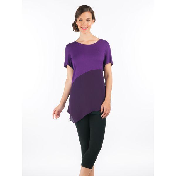 Asymmetrical Jersey Top in Purple