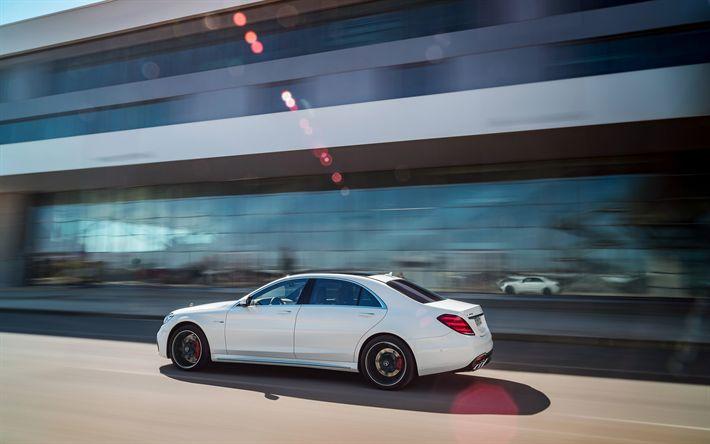 Herunterladen hintergrundbild mercedes-benz s63 amg, 2018, geschwindigkeit, weißen s63, limousine, deutsche autos, tuning s-klasse, mercedes
