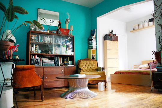 Creative use of color in a small studio
