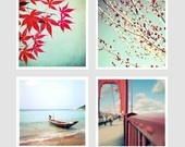 red: Photographs Set, Brances Teal, Color Inspiration, Red Leaves, Fine Art Photography, Home Decor, Teal Sky