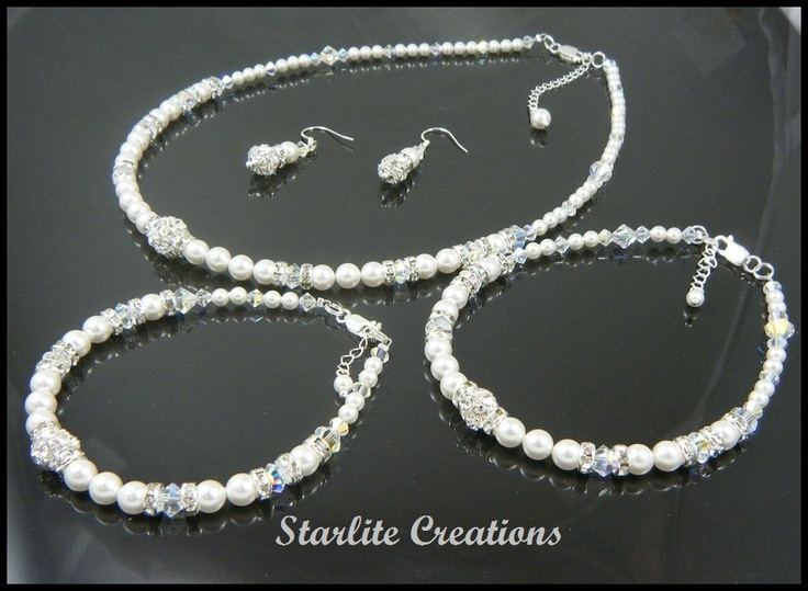 """DAZZLE"" Swarovski Pearl & AB Crystal 5 piece Bridal Set.  Necklace, Bracelet, Earrings and Anklet  925 Sterling Silver clasps, rings & extensions"