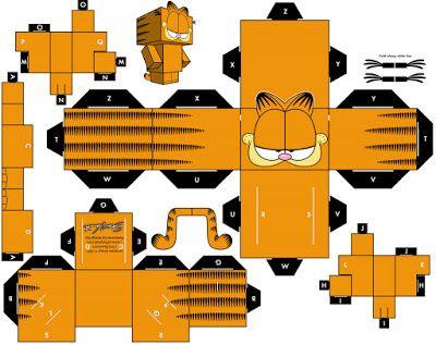 kit festa para imprimir gratuito, Garfield, boneco de papel garfield para montar