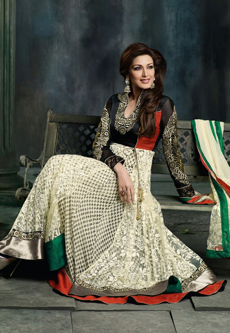 Cream Brasso Net and Faux Georgette Anarkali #Churidar #Kameez
