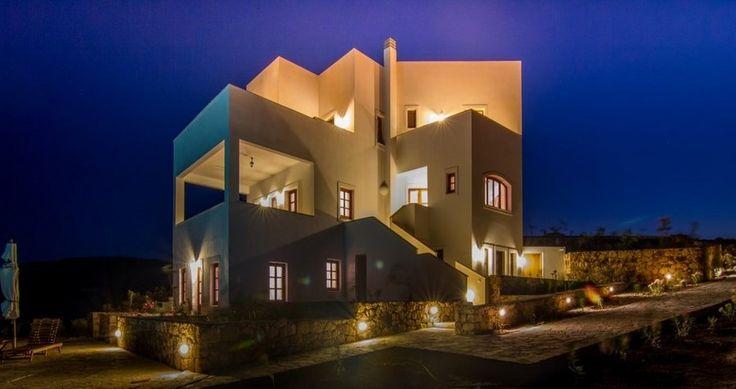 "Check ""Villa Sophias"" at night - Patmos, Greece ! You can rent it ! #luxury #villa #rent #holidays #greece #vacances #grece #alouer #aroomwithaview #sea #bedroom #decoration #swimmingpool #beautiful"