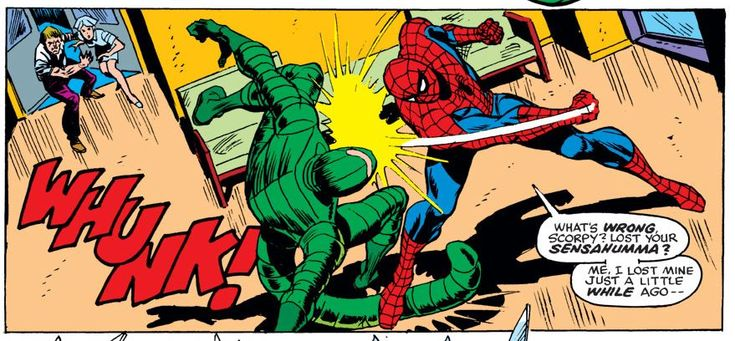 """WHUNK!"" Spider-Man wallops the Scorpion after he savagely attacked Aunt May in AMAZING SPIDER-MAN #146 ""Scorpion... Where is Thy Sting?"""