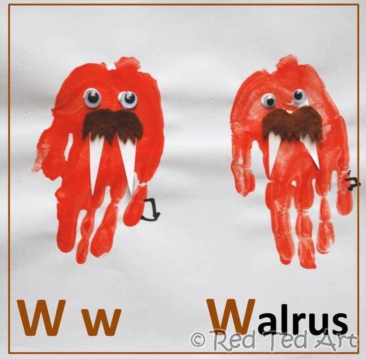 Handprint Walrus: Idea, Handprint Crafts, Art And Crafts, Abc Handprints, Handprint Art, Arts And Crafts, Alphabet, Handprint Walrus