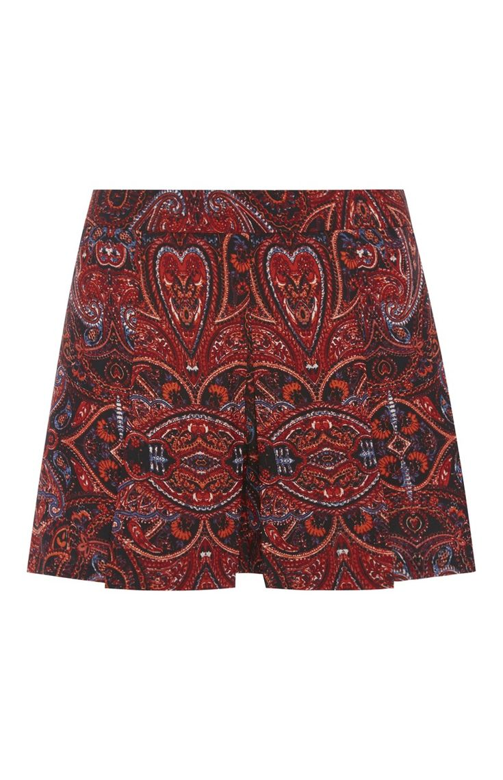 Rote Shorts mit Paisleymuster