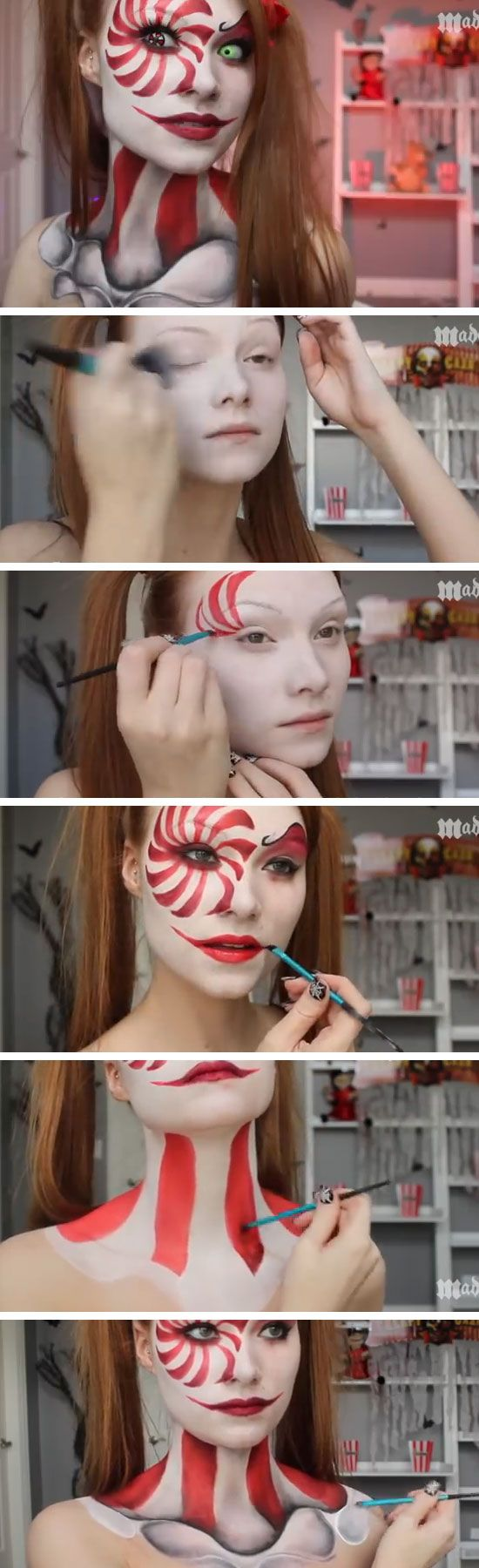 Clown Makeup Tutorial | Click Pic for 22 Easy DIY Halloween Costumes for Women 2014 | Last Minute Halloween Costumes for Women