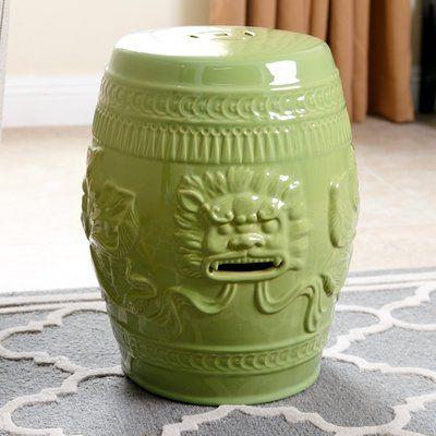 World Menagerie Nosal Chinese Lion Ceramic Garden Stool Finish: Lime Green