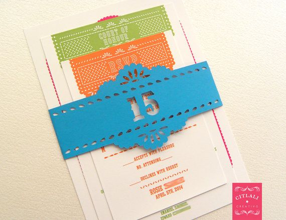 Papel Picado Quinceañera Bright Multicolor Invitation set with paper cut band for any birthday or special event - made to order by citlalicreativo.com