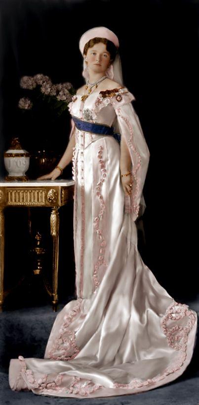 Grand Duchess Olga in court dress, 1913.