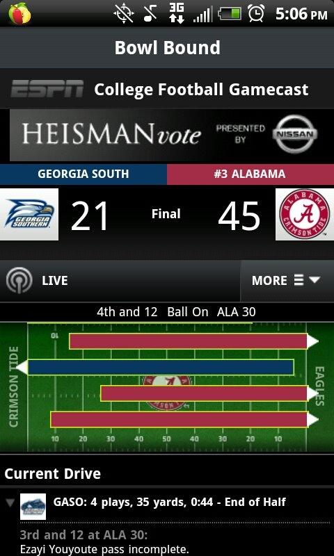 Georgia Southern teaching Bama a thing or two about Eagle football! Not a win but I'll take it!