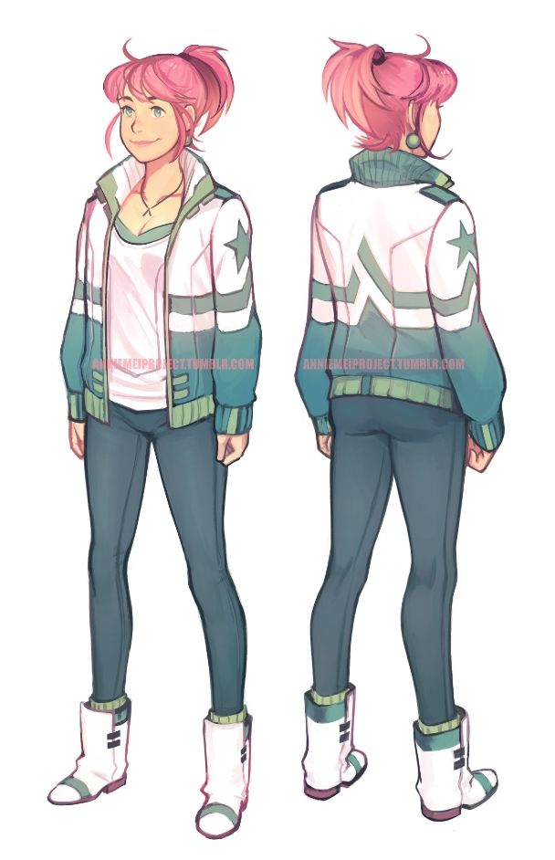1girl ankle_boots annie_mei annie_mei_project boots breasts caleb_thomas character_sheet cleavage collage commentary earrings full_body green_eyes high_ponytail jewelry letterman_jacket lips long_hair necklace pants pink_hair smile socks solo standing
