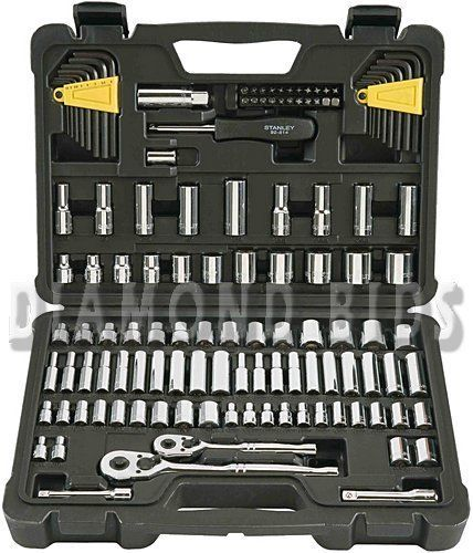 Stanley-123-Piece-Set-Mechanics-Tool-Kit-Craftsman-Chrome-Sockets-Handyman-Drive