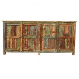 Rainbow Reclaimed Timber Carved  Panel Sideboard 1.8m