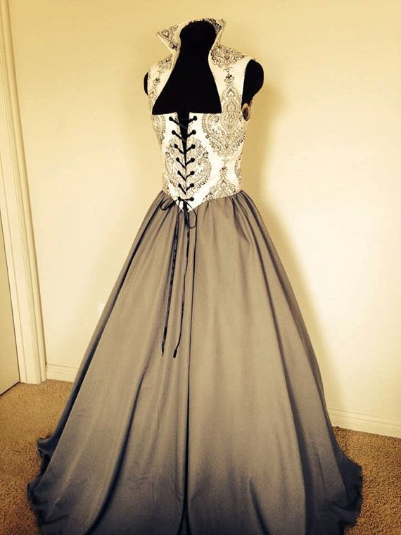 Fantasy cosplay Renaissance Bodice and Skirt Dress in Gray and Cream one ready to ship, also custom available!!!