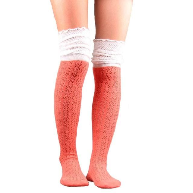 Stockings 8 Colors Fashion Women's Stockings Sexy Warm Thigh High Over The Knee Socks Long Cotton Stockings Girls Ladies Women