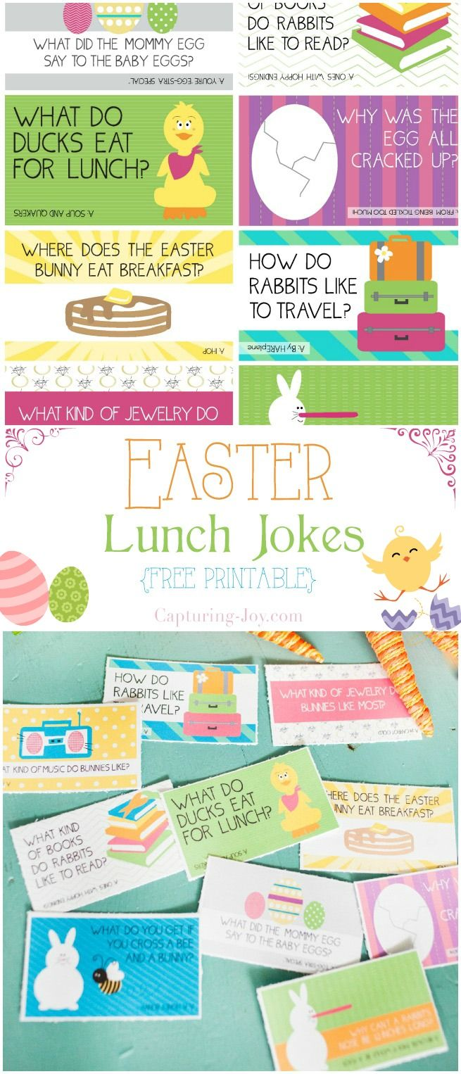Easter Lunch jokes for your kids lunches!  Free printable!  Capturing-Joy.com