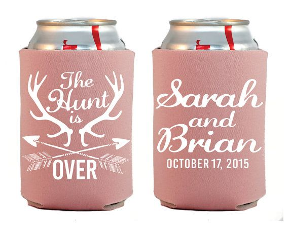 The Hunt is Over Personalized Koozies Camo Wedding by SipHipHooray