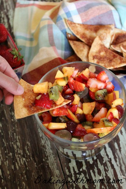 Fruit Salsa With Cinnamon Chips will be perfect back to school snack or packed in a lunch box. The blend of flavors from this delicious side dish will impress the pickiest of eaters.