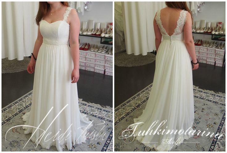 chiffon and lace wedding dress by: Heidi Tuisku/Ateljé Tuhkimotarina