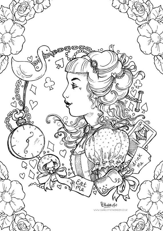 adult colouring page alice in wonderland gothic lolita kawaii victorian pin up girl instant - Intricate Coloring Pages Kids