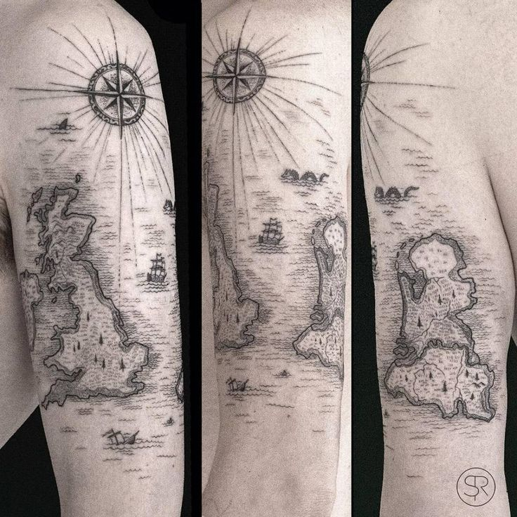 Old map, from when Belgium and the Netherlands were still an island. Tattoo Artist: Sven Rayen