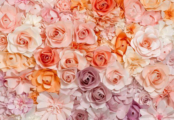 Fotomural Flowers 147, imagen de flores completamente juntas, vistas desde arriba, en distintos tonos de rosa,