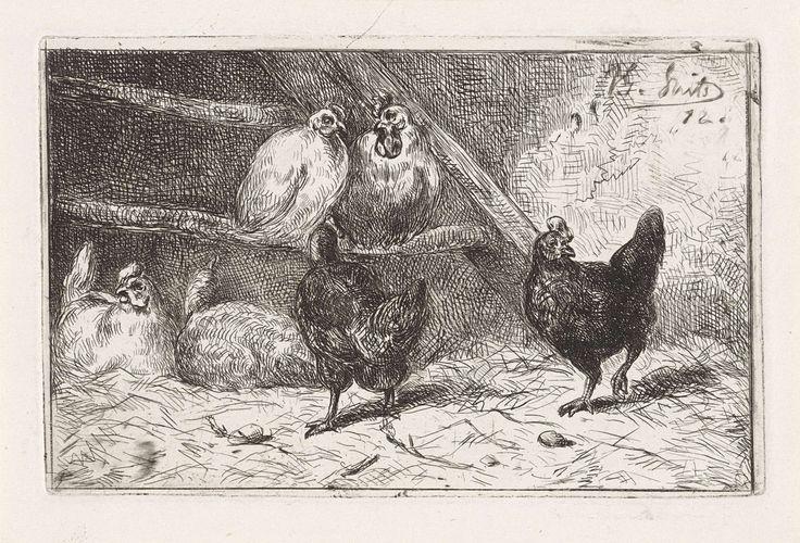 Jan Gerard Smits | Haan en vijf kippen in een hok, Jan Gerard Smits, 1872 | Haan en vijf kippen in een hok. Twee ervan zitten op stok. Twee zwarte kippen scharrelen rond, de andere twee liggen op de grond.
