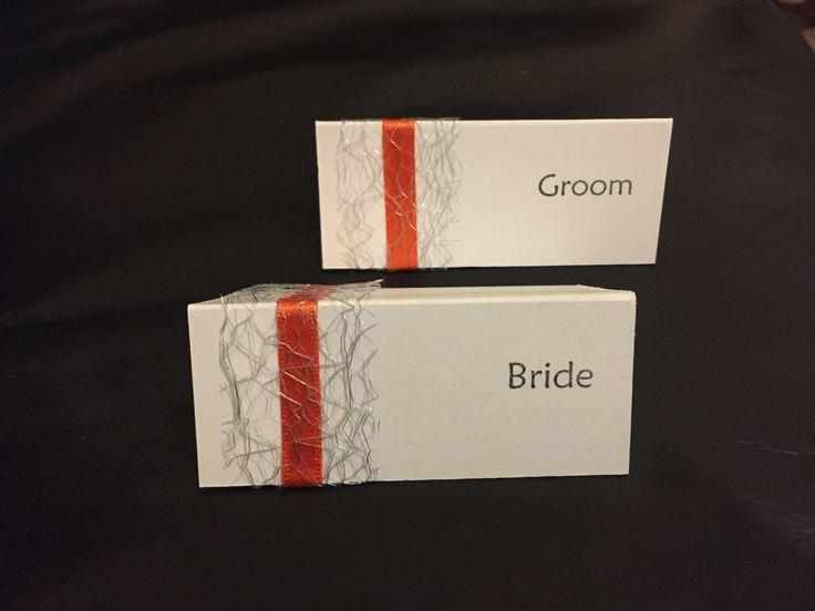 Handmade name placements for wedding breakfast. Orange, yellow, grey & white theme