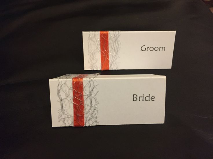 Handmade name placements for wedding breakfast. Orange, yellow, grey & white theme