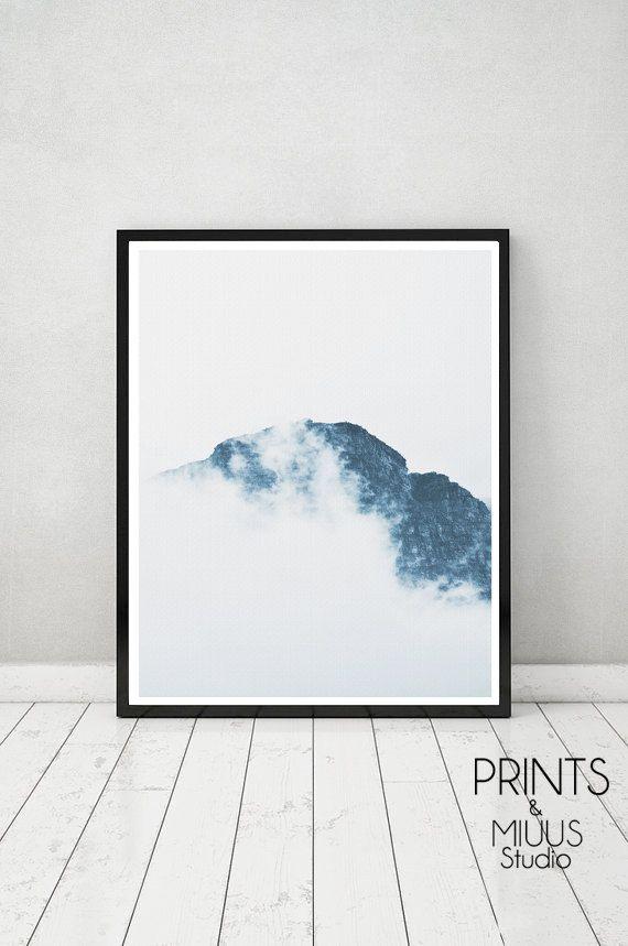 Photography Mountains Clouds Art Print Modern by PrintsMiuusStudio