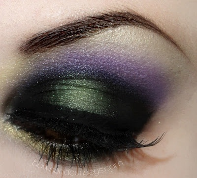 Try this look with Merle Norman shadow in Oyster, Purple Reign, Charcoal Green, and Golddigger.