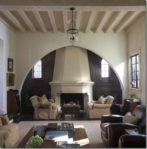 Things That Inspire: Inglenook Fireplaces -- This would be a great fireplace in a Spanish Colonial -- they so often get duds